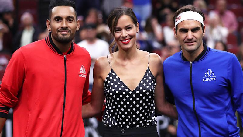 Nick Kyrgios, Ana Ivanovic and Roger Federer at the 2018 Laver Cup, where Federer beat Kyrgios. (Photo by Matthew Stockman/Getty Images for The Laver Cup)
