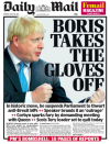 """The Daily Mail pictured a PM with his fists raised as they headlined with """"Boris takes the gloves off"""" in his fight with Remainers. (Twitter)"""