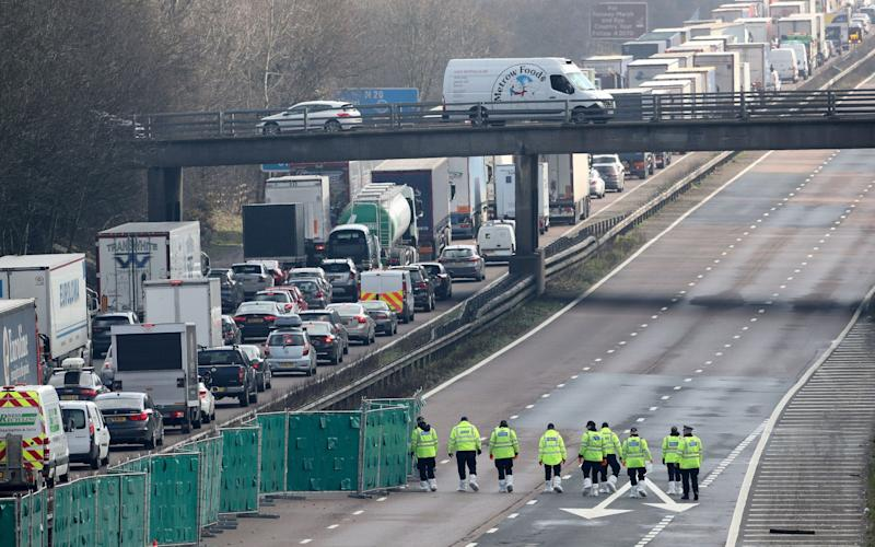Part of the motorway near Ashford, in Kent, was closed for nearly 24 hours after the discovery - PA