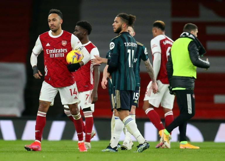 Pierre-Emerick Aubameyang (L) maintains a tradition of hat-trick scorers keeping the match ball after his treble for Arsenal in a 4-2 win over Leeds.