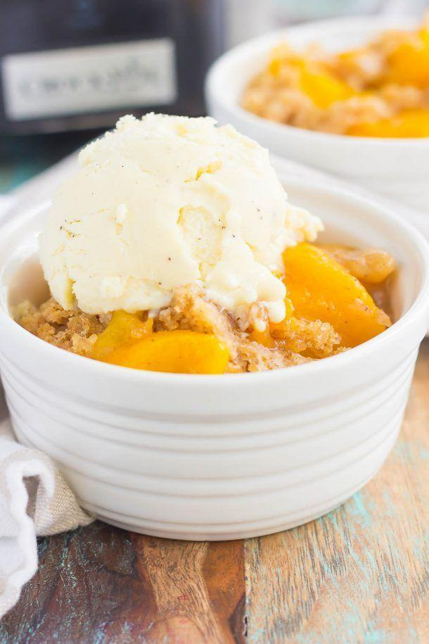 """<p><span>Don't forget the ice cream!</span></p><p><strong>Get the recipe at <a href=""""http://www.pumpkinnspice.com/2017/05/15/slow-cooker-peach-cobbler/"""" rel=""""nofollow noopener"""" target=""""_blank"""" data-ylk=""""slk:Pumpkin 'N' Spice."""" class=""""link rapid-noclick-resp"""">Pumpkin 'N' Spice.</a> </strong><br></p>"""