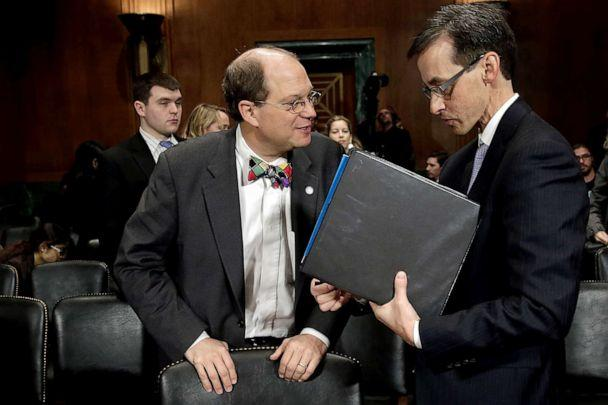 PHOTO: Paul Rosenzweig talks with Richard Salgado before the Senate Judiciary Committee's Privacy, Technology, and the Law Subcommittee, Nov. 13, 2013, in Washington. (Win Mcnamee/Getty Images, FILE)