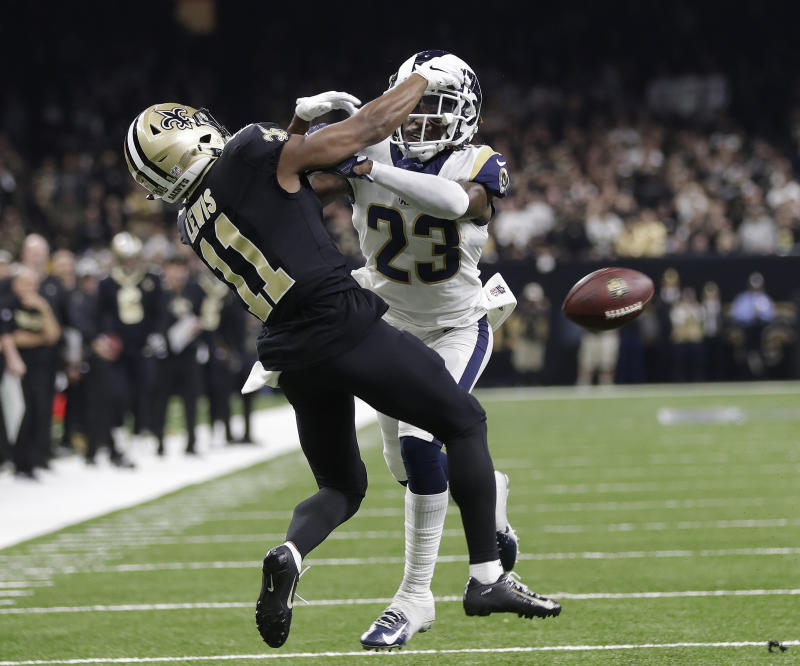 No penalty was called on the Rams  Nickell Robey-Coleman as he defended the  Saints  Tommylee Lewis. (AP) c6a4143ec