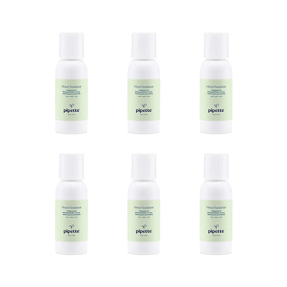 """<h3>Pipette Hand Sanitizer Gel 6-Pack</h3><br>A tiny bottle of <a href=""""https://www.refinery29.com/en-us/mvp-awards-2020"""" rel=""""nofollow noopener"""" target=""""_blank"""" data-ylk=""""slk:award-winning hand sanitizer"""" class=""""link rapid-noclick-resp"""">award-winning hand sanitizer</a> crafted from soothing skincare ingredients (like squalane and glycerin) plus germ-dominating 65% ethyl alcohol makes for superb stocking stuff.<br><br><strong>Pipette</strong> Hand Sanitizer Gel, 2 oz (6-Pack), $, available at <a href=""""https://amzn.to/3ojwFAm"""" rel=""""nofollow noopener"""" target=""""_blank"""" data-ylk=""""slk:Amazon"""" class=""""link rapid-noclick-resp"""">Amazon</a>"""