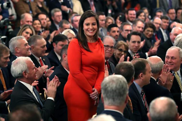 Stefanik is acknowledged by President Trump at the White House the day after his acquittal. (Mark Wilson/Getty Images)