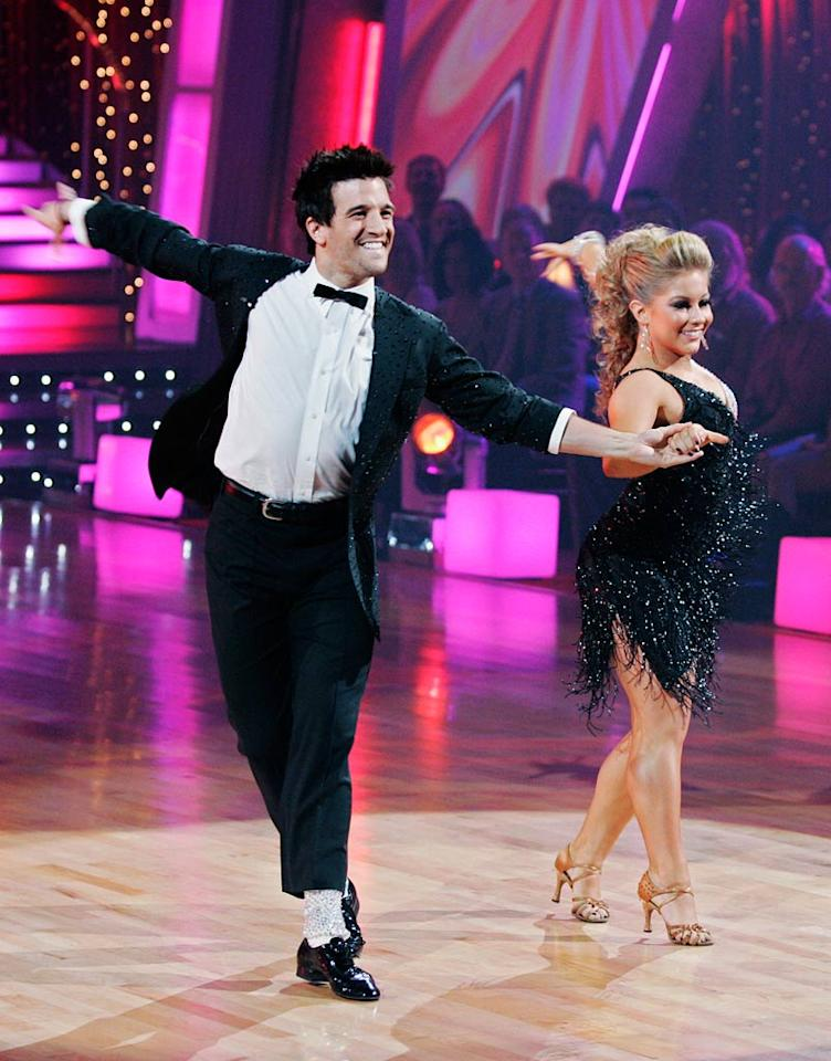 "Shawn Johnson and Mark Ballas perform the Cha-Cha-Cha to ""P.Y.T. (Pretty Young Thing)"" by Michael Jackson on ""Dancing with the Stars."""