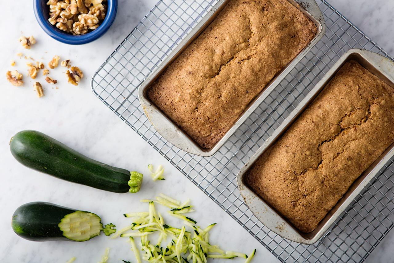 """It's not summer until you've made at least one zucchini loaf. So make two before you leave, then serve toasted with a fried egg for breakfast, sliced plain for an afternoon snack, or grilled and topped with ice cream for dessert. <a href=""""https://www.epicurious.com/recipes/food/views/james-beards-zucchini-bread-56389932?mbid=synd_yahoo_rss"""">See recipe.</a>"""