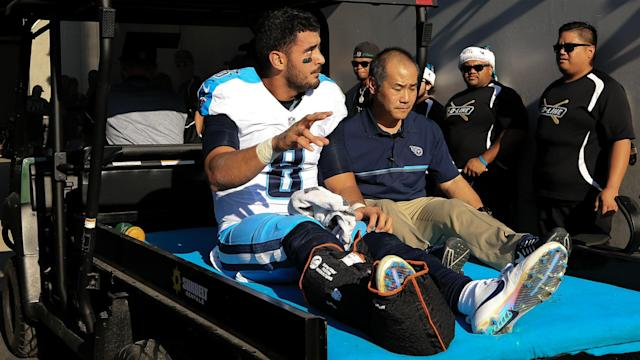 Marcus Mariota was sidelined by a hamstring injury in a Week 4 loss to the Texans.