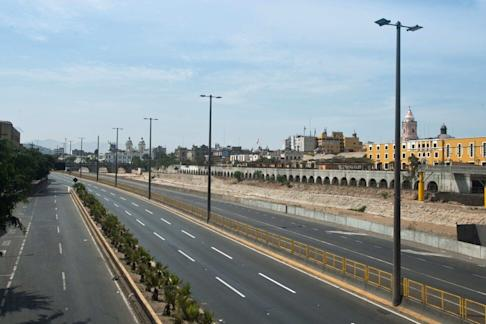 Deserted streets in Lima. Peru has recorded 950 coronavirus infections and 18 related deaths. Photo: EPA