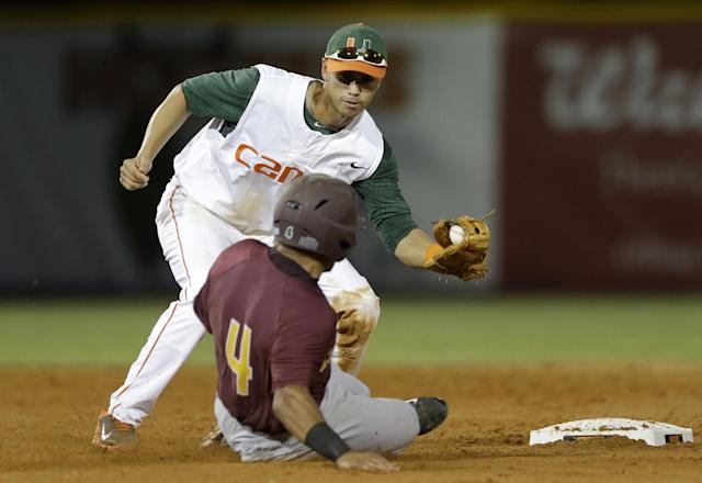 Miami shortstop Brandon Lopez, top, prepares to tag out Bethune-Cookman's Josh Johnson (4) as Johnson tries to steal second base during the fifth inning of an NCAA college baseball regional tournament game in Coral Gables, Fla., Friday, May 30, 2014. Miami won 1-0. (AP Photo/Alan Diaz)