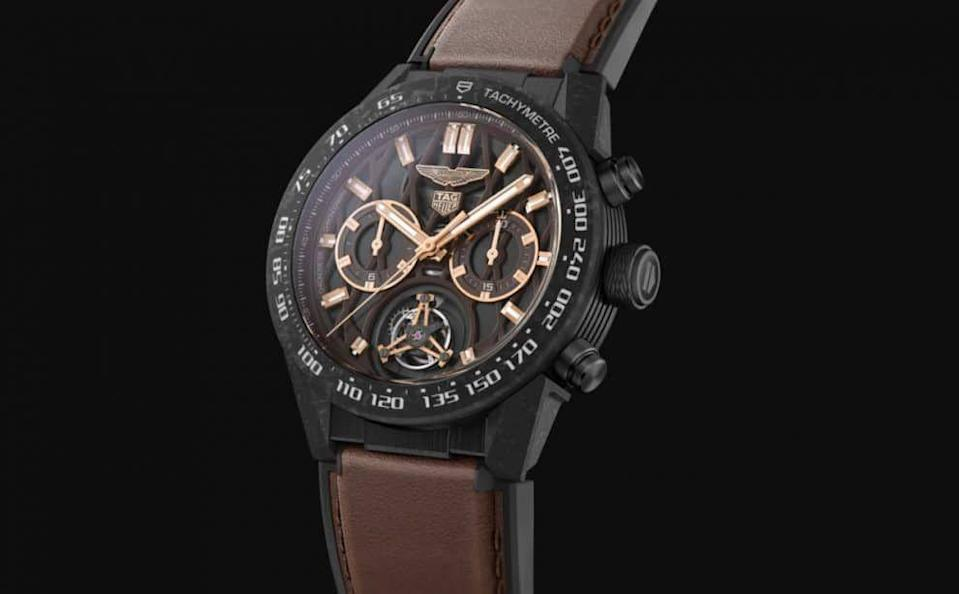 """<p><a class=""""link rapid-noclick-resp"""" href=""""https://www.tagheuer.com/gb/en/timepieces/collections/tag-heuer-carrera/45-mm-calibre-heuer-02-tourbillon/CAR5A8E.FT6181.html"""" rel=""""nofollow noopener"""" target=""""_blank"""" data-ylk=""""slk:SHOP"""">SHOP</a></p><p>Another limited edition and not one for wallflowers. Measuring a not-insubstantial 45mm this model pairs an unusual brown dial with rose-gold plated accents. Produced in partnership with Aston Martin, the luxury car brand's stylings are apparent with the logos at 12 o'clock and 6 o'clock and the interior-matching brown calfskin strap. The case uses both titanium and carbon, which, say Tag Heuer, allows this watch to be """"just as durable as the cars that inspire it"""". You'll need deep pockets and you'll have to hurry – just 150 have been produced. </p><p>£21,800;<a href=""""https://www.tagheuer.com/gb/en/timepieces/collections/tag-heuer-carrera/45-mm-calibre-heuer-02-tourbillon/CAR5A8E.FT6181.html"""" rel=""""nofollow noopener"""" target=""""_blank"""" data-ylk=""""slk:tagheuer.com"""" class=""""link rapid-noclick-resp""""> tagheuer.com</a></p>"""