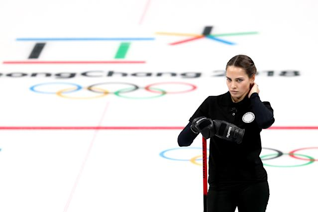 "<h1 class=""title"">Curling - Winter Olympics Day - 1</h1> <div class=""caption""> GANGNEUNG, SOUTH KOREA - FEBRUARY 8: Anastasia Bryzgalova of Olympic Athletes from Russia looks on during her game against Finland in the Curling Mixed Doubles Round Robin Session 2 during the PyeongChang 2018 Winter Olympic Games at Gangneung Curling Centre on February 8, 2018 in Gangneung, South Korea. (Photo by Maddie Meyer/Getty Images) </div> <cite class=""credit"">Maddie Meyer</cite>"