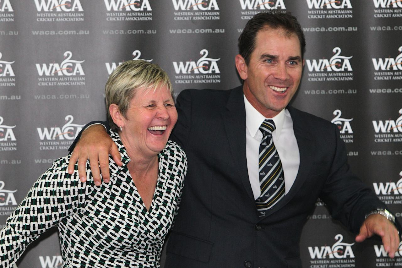 PERTH, AUSTRALIA - NOVEMBER 14:  Newly appointed Western Australia Warriors coach Justin Langer and WACA Chief Executive Officer Christina Matthews speak to the media at the WACA on November 14,  2012 in Perth, Australia.  (Photo by Will Russell/Getty Images)