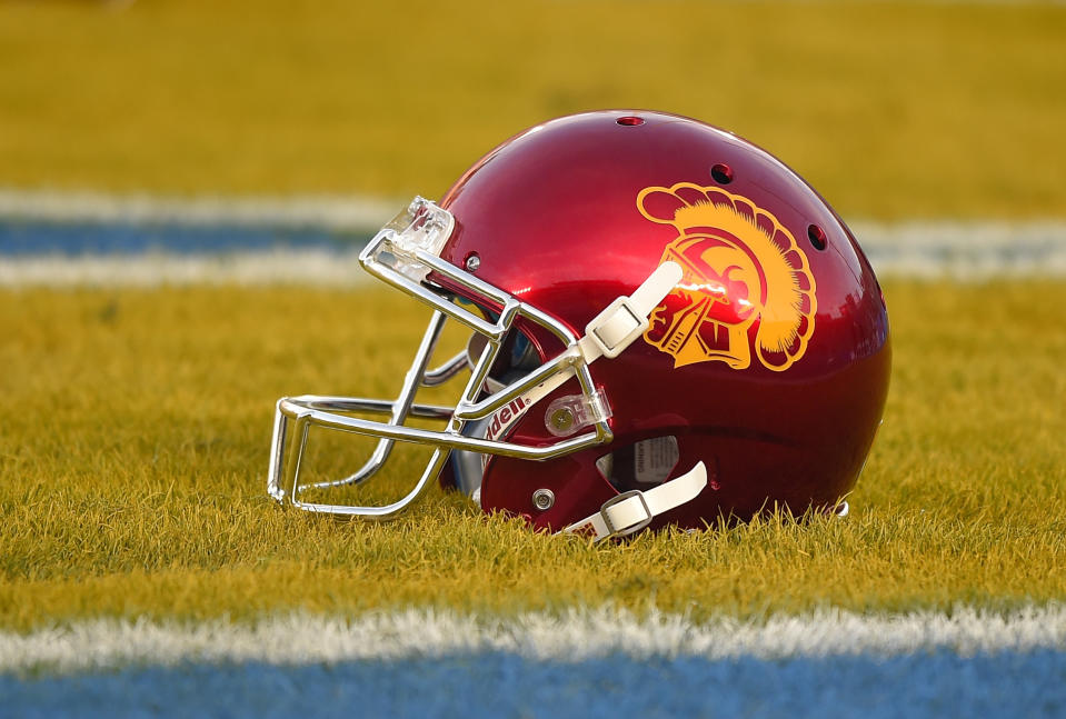 A Southern California helmet sits in the end zone prior to an NCAA college football game against UCLA, Saturday, Nov. 22, 2014, in Pasadena, Calif. (AP Photo/Mark J. Terrill)