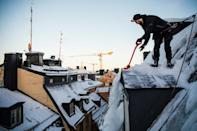 Under Swedish law, property owners are responsible for clearing snow and ice off their buildings if it threatens to fall and injure someone, but accidents are rare
