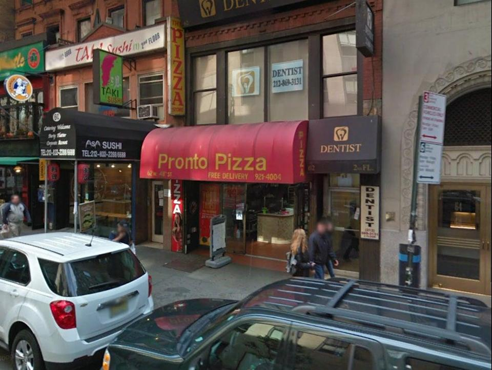 The Pronto Pizza shop on W38th street in New York City (Google Maps)