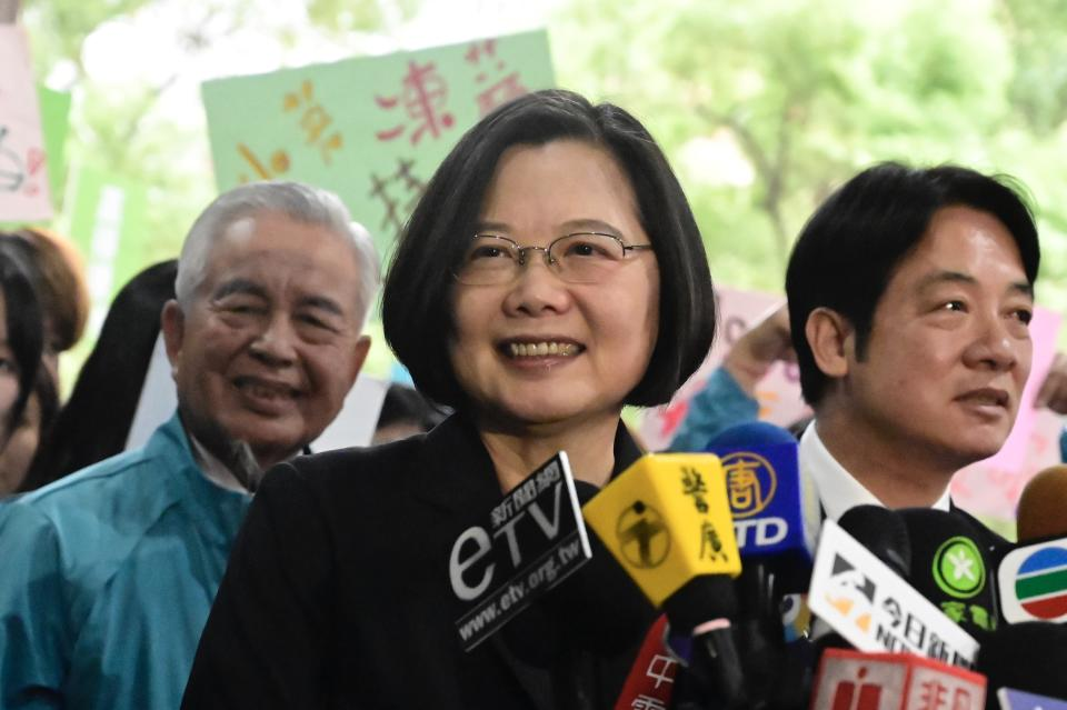 Taiwan's President Tsai Ing-wen (C) speaks after registering as a presidential candidate outside the Central Elections Committee in Taipei on November 19, 2019. - Taiwan will elect a new president and parliament on January 11. (Photo by Sam Yeh / AFP) (Photo by SAM YEH/AFP via Getty Images)
