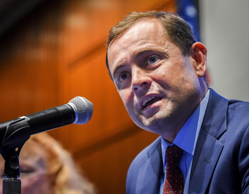 Tom Perriello addresses a forum with fellow Virginia gubernatorial candidate Ralph Northam on May 2, 2017.