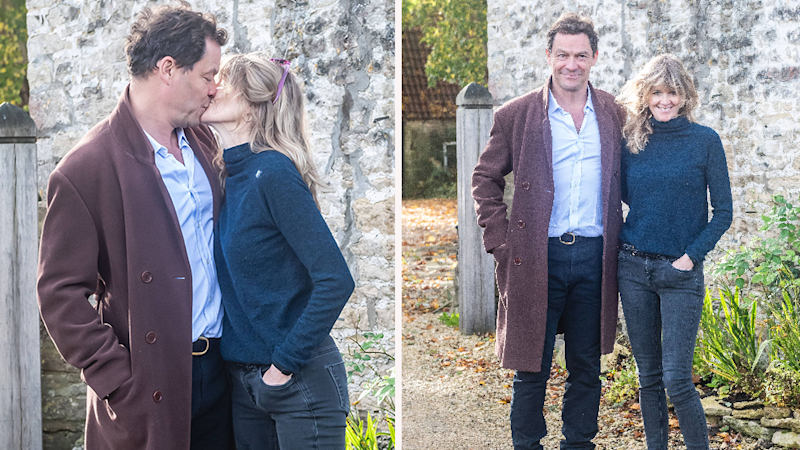 Dominic West and wife Catherine FitzGerald put on a display of solidarity after snaps of him smooching co-star Lily James surfaced.