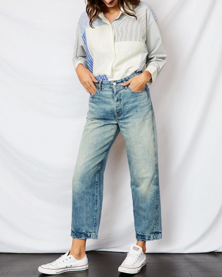 """Ética is the latest sustainably produced label on the denim market. Based in Los Angeles, it was launched by Chelsey Santry earlier this year, with a commitment to fair labor practices and conscious manufacturing and an investment in energy-efficient machinery that reduces water and energy waste. Ética uses dead stock fabric (unused materials from mills that would normally end up in a landfill but are instead upcycled) and repurposes used wash stones, compressing them into bricks to build low-income housing. Buying into its mission is easy on the wallet too: All styles come in at less than $200. $155, ÉTICA. <a href=""""https://eticadenim.com/collections/new-arrivals/products/tyler-ankle-marina"""">Get it now!</a>"""