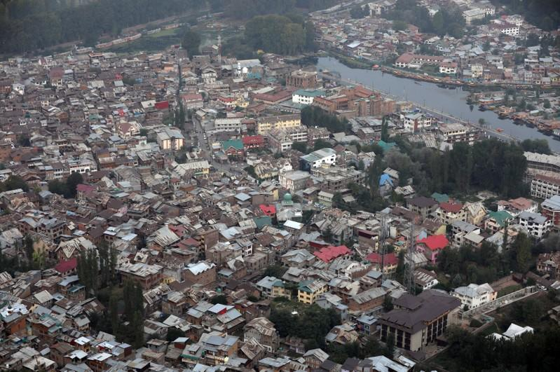 An aerial view shows residential houses in Srinagar