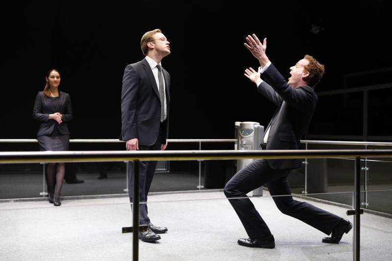"This theater image released by 59E59 Theaters shows, from left, Eleanor Matsuura, Sam Troughton and Adam James, in a scene from Mike Bartlett's new comedy, ""Bull: The Bullfight Play,"" currently performing as part of Brits Off Broadway at 59E59 Theaters in New York.  (AP Photo/59E59 Theaters, Carol Rosegg)"