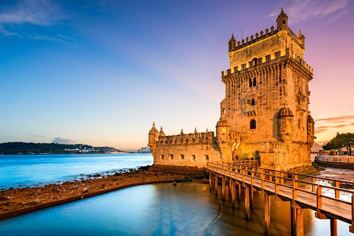 Lisbon's Belém Tower, which is located along the Tagus River, is a UNESCO World Heritage site.