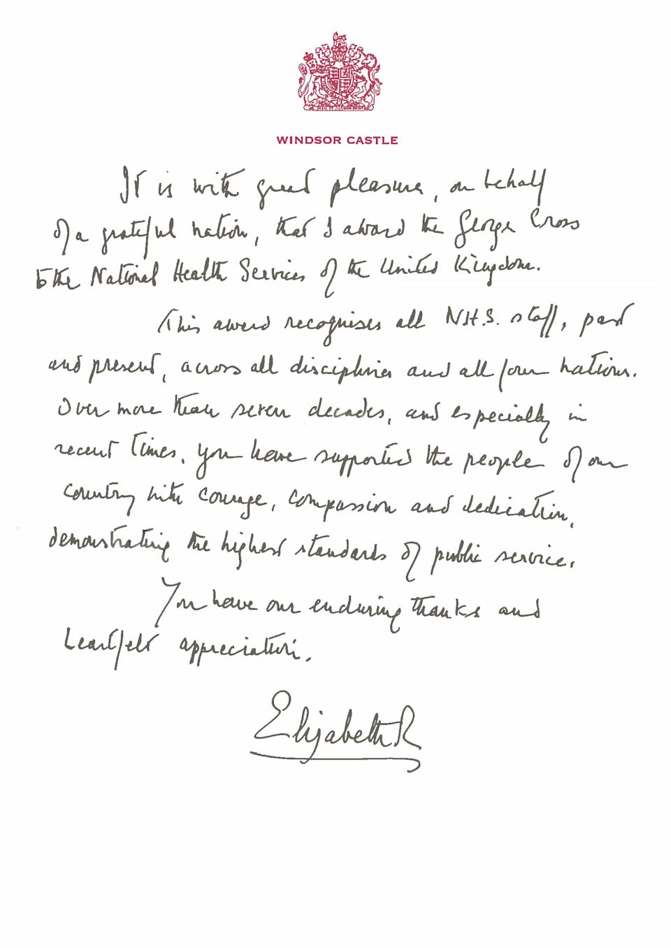 A handwritten message from Queen Elizabeth II in support of the award of the George Cross to the NHS (PA)
