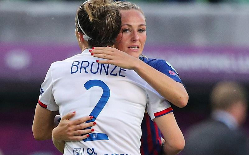 Lyon's Lucy Bronze consoles her England team-mate, Barcelona's Toni Duggan - Getty Images Europe