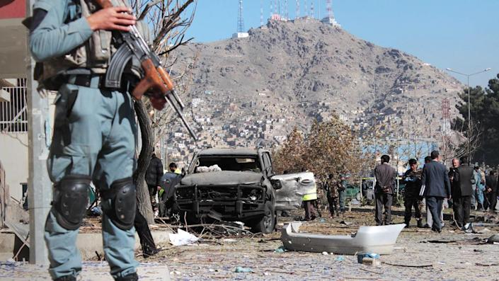 The scene of a suicide car bomb attack that targeted Shukria Barakzai in Kabul, November 2014