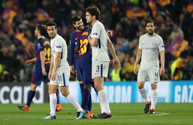 Soccer Football - Champions League Round of 16 Second Leg - FC Barcelona vs Chelsea - Camp Nou, Barcelona, Spain - March 14, 2018 Chelsea's Pedro, Marcos Alonso and Cesc Fabregas look dejected after the match REUTERS/Susana Vera