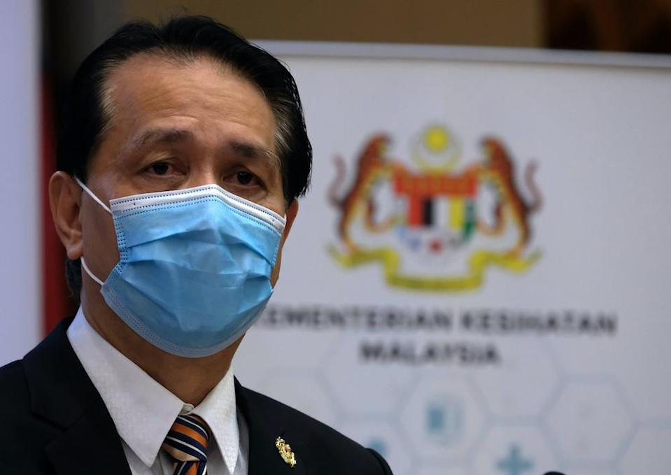 File photo of Health Director-General Tan Sri Dr Noor Hisham Abdullah speaking during a press conference in Putrajaya November 16, 2020. — Bernama pic