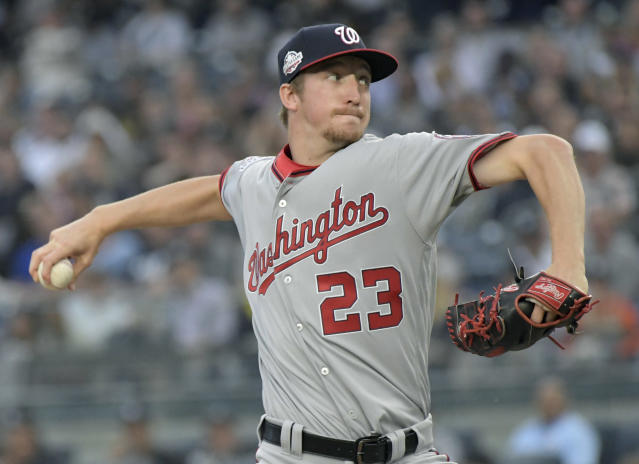 Washington Nationals pitcher Erick Fedde delivers the ball to the New York Yankees during the inning of a baseball game Wednesday, June 13, 2018, at Yankee Stadium in New York. (AP Photo/Bill Kostroun)
