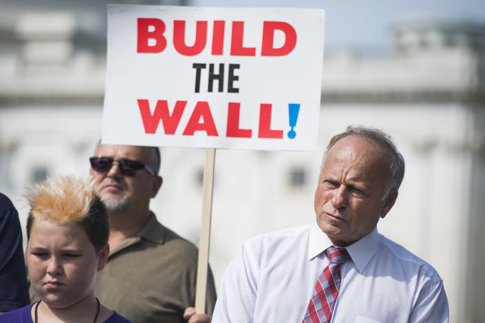 Rep. Steve King, R-Iowa, attends a rally with Angel Families on the East Front of the Capitol, to highlight crimes committed by illegal immigrants in the U.S., on Sept. 7, 2018. (Photo: Tom Williams/CQ Roll Call/Getty Images)