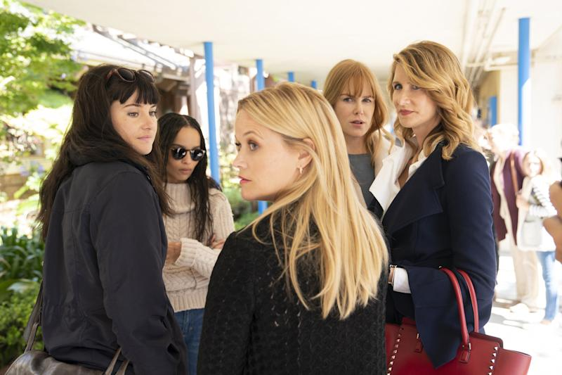 Shailene Woodley, Zoe Kravitz, Reese Witherspoon, Nicole Kidman, and Laura Dern star in Big Little Lies.