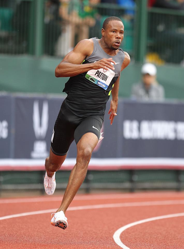 EUGENE, OR - JUNE 30:  Darvis Patton runs in the Men's 200 Meter semi-finals on Day 9 of the 2012 U.S. Olympic Track & Field Team Trials at Hayward Field on June 30, 2012 in Eugene, Oregon.  (Photo by Andy Lyons/Getty Images)