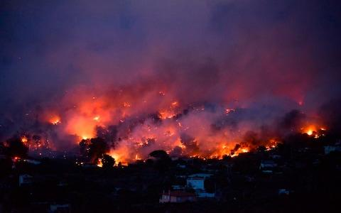 Flames rise as a wildfire burns in the town of Rafina, near Athens - Credit: AFP