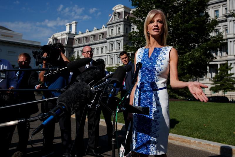 White House counselor Kellyanne Conway talks to reporters outside the White House, June 24, 2019, in Washington.