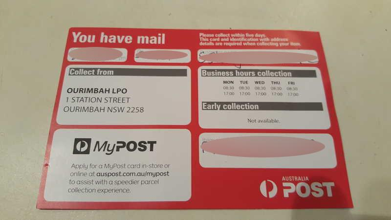 Pictured is an Australia Post sorry I missed you card.