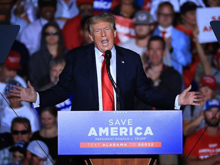 Former President Donald Trump speaks at the