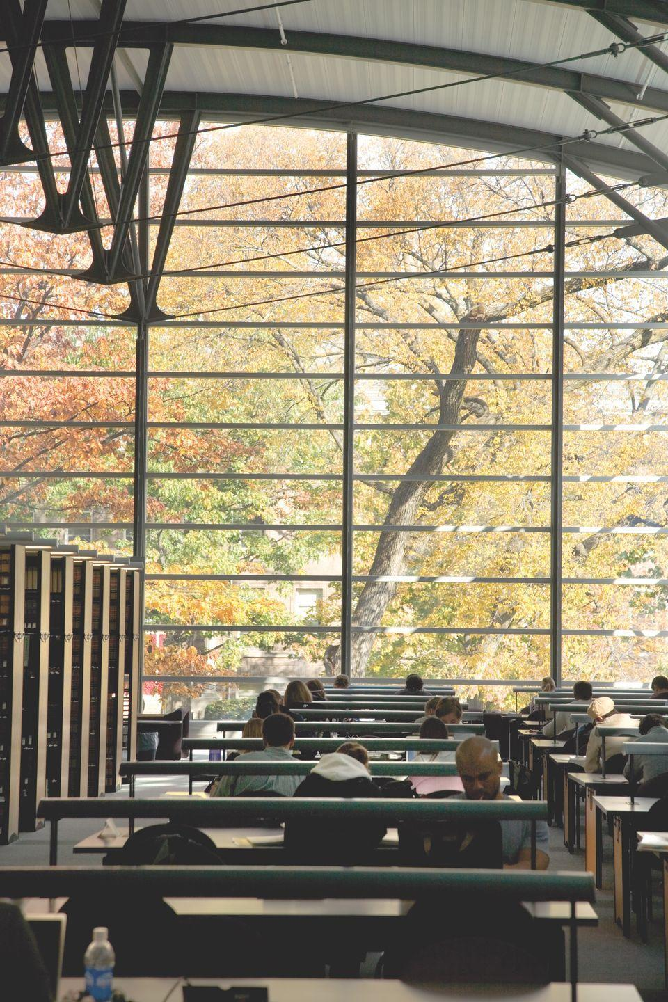 <p>At University of Wisconsin's <span>Law School Library</span>, walls are a thing of the past. Instead, floor to ceiling windows will have you feeling like you're reading in the trees.<br></p>