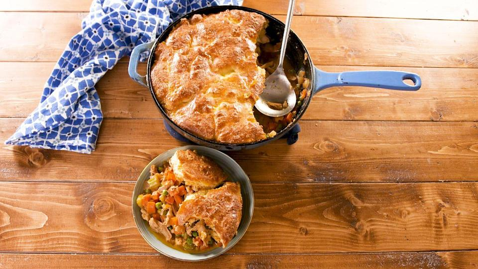 """<p>Almond flour, mozzarella, and cream cheese make a crust to write home about.</p><p>Get the recipe from <a href=""""https://www.delish.com/cooking/recipe-ideas/a26789923/keto-chicken-potpie-recipe/"""" rel=""""nofollow noopener"""" target=""""_blank"""" data-ylk=""""slk:Delish"""" class=""""link rapid-noclick-resp"""">Delish</a>.</p>"""