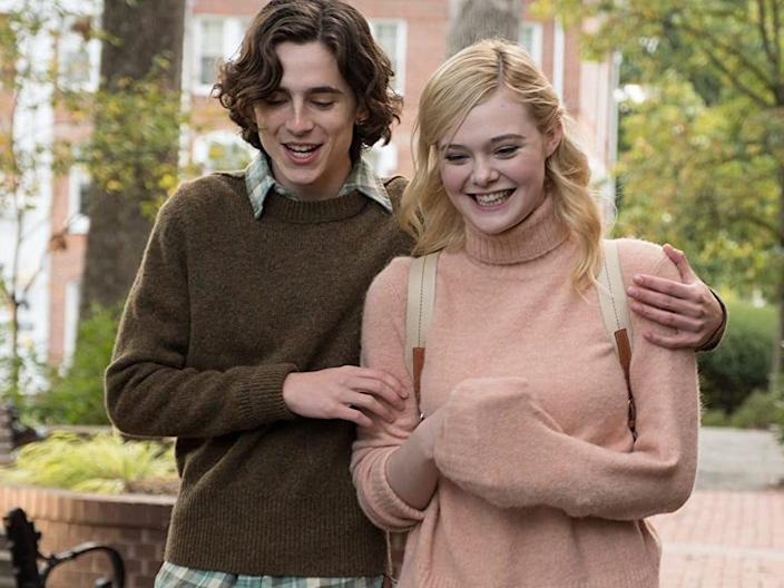 timothee chalamet elle fanning a rainy day in new york