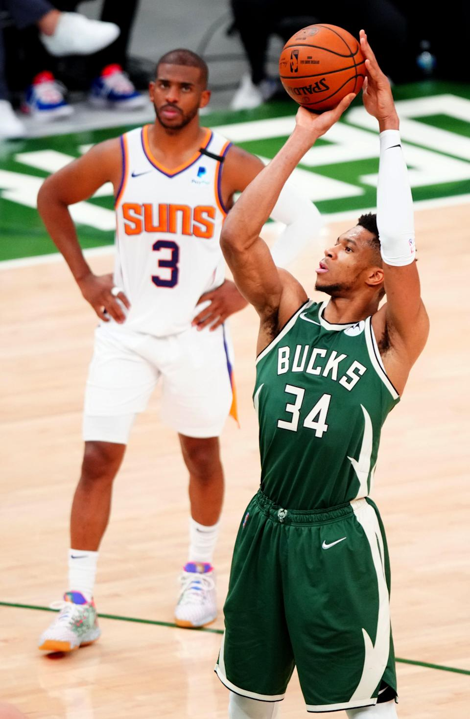 Giannis Antetokounmpo (34) shot 17 free throws in Game 3 while the Suns shot 16 as a team.