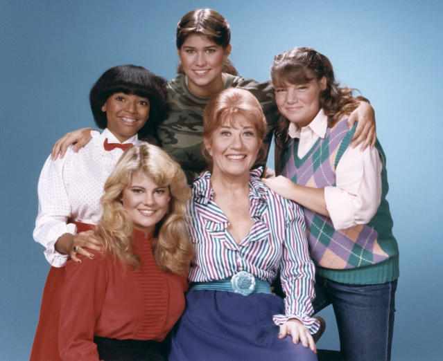 Charlotte Rae's Mrs. Garrett (center) launched the <i>Facts of Life</i> spinoff, starring Nancy McKeon, Mindy Cohn, Lisa Whelchel, and Kim Fields. (Photo: Frank Carroll/NBC/NBCU Photo Bank via Getty Images)