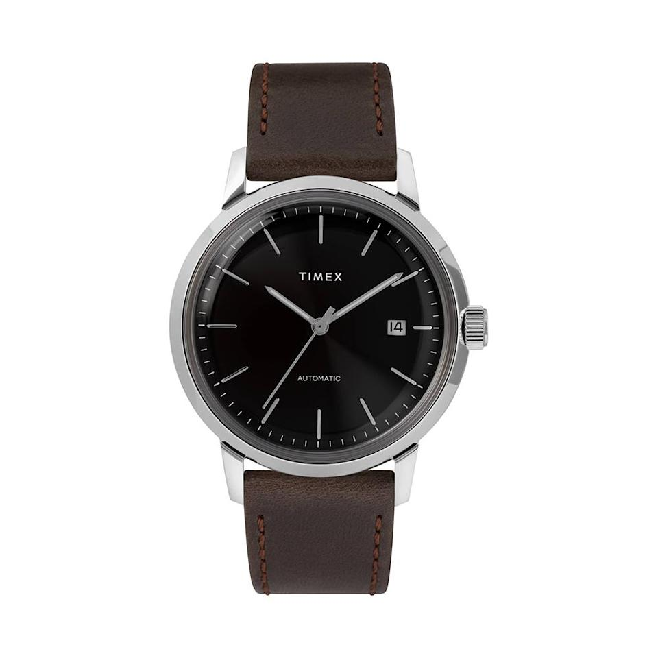 """<p>Proper mechanical hand-wound movement at this price point seems too good to be true — but this sleek timepiece will be one he'll treasure for years to come. The leather-strap beauty is inspired by Timex's iconic 1960s Marlin automatic design. The timeless piece will become his signature accessory.<br><strong><a href=""""https://fave.co/2AMgYLI"""" rel=""""nofollow noopener"""" target=""""_blank"""" data-ylk=""""slk:Shop it"""" class=""""link rapid-noclick-resp"""">Shop it</a>:</strong> $249, <a href=""""https://fave.co/2AMgYLI"""" rel=""""nofollow noopener"""" target=""""_blank"""" data-ylk=""""slk:nordstrom.com"""" class=""""link rapid-noclick-resp"""">nordstrom.com</a> </p>"""