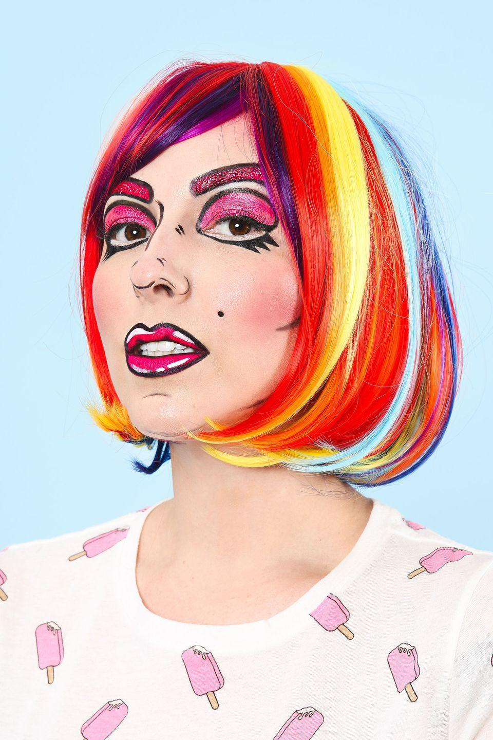 """<p>You'll look like you stepped out of a comic book thanks to this sensational makeup tutorial. Cap it off with a super-vibrant wig and clothes in bright colors with oversized elements, like big buttons.</p><p><strong>Get the tutorial at <a href=""""http://keikolynn.com/2016/10/cartoon-makeup-tutorial-halloween/"""" rel=""""nofollow noopener"""" target=""""_blank"""" data-ylk=""""slk:Keiko Lynn"""" class=""""link rapid-noclick-resp"""">Keiko Lynn</a>.</strong></p><p><a class=""""link rapid-noclick-resp"""" href=""""https://www.amazon.com/Straight-Multi-Color-Comfortable-Breathable-Durable-Rose/dp/B073Z6ZSR8/ref=sr_1_17?tag=syn-yahoo-20&ascsubtag=%5Bartid%7C10050.g.4571%5Bsrc%7Cyahoo-us"""" rel=""""nofollow noopener"""" target=""""_blank"""" data-ylk=""""slk:SHOP WIGS"""">SHOP WIGS</a><br></p>"""