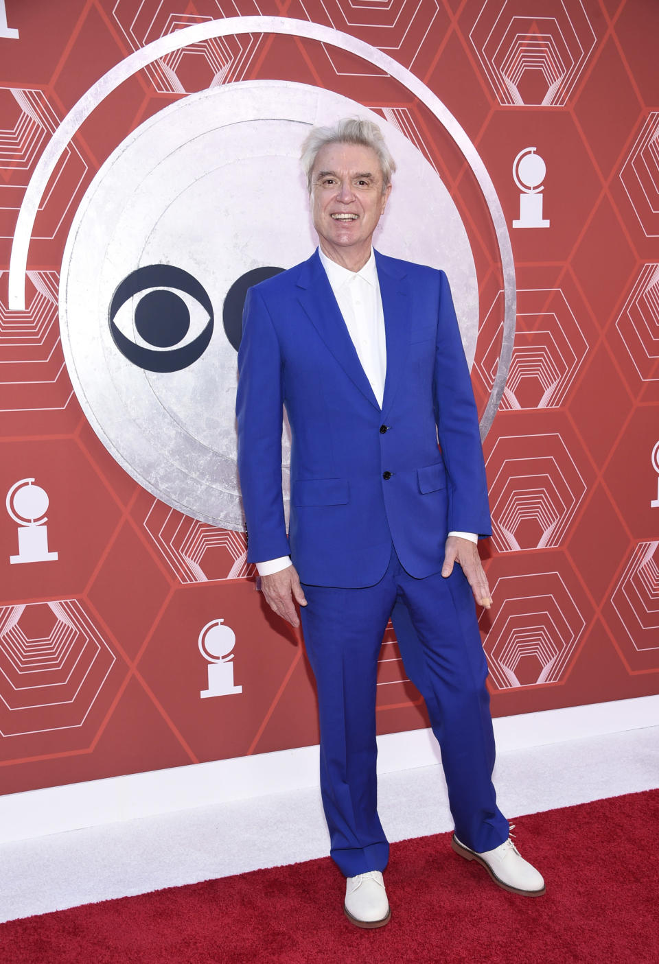 David Byrne arrives at the 74th annual Tony Awards at Winter Garden Theatre on Sunday, Sept. 26, 2021, in New York. (Photo by Evan Agostini/Invision/AP)