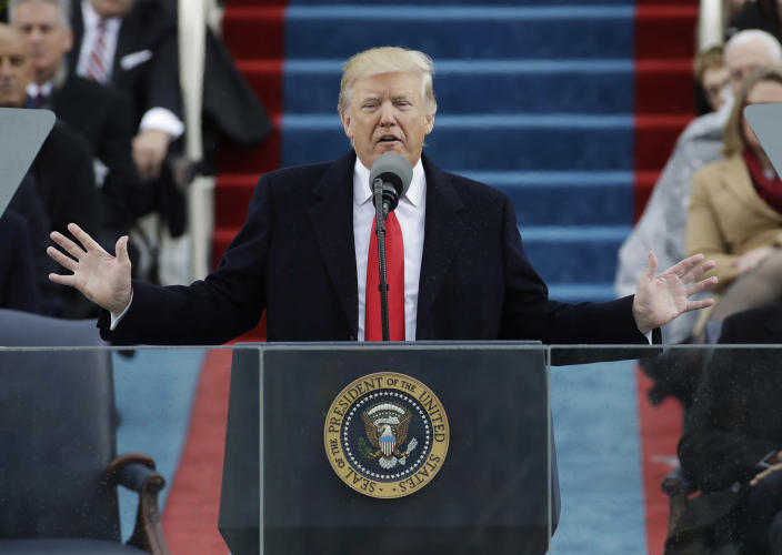 <p>President Donald Trump delivers his inaugural address after being sworn in as the 45th president of the United States during the 58th Presidential Inauguration at the U.S. Capitol in Washington, Friday, Jan. 20, 2017. (Photo: Patrick Semansky/AP) </p>
