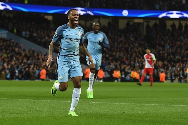 Manchester City midfielder Raheem Sterling celebrates scoring the opener during the UEFA Champions League Round of 16 first-leg against Monaco at the Etihad Stadium in Manchester, on February 21, 2017 (AFP Photo/Paul ELLIS)